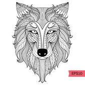 Detail zentangle wolf for coloring page,tattoo, t shirt design effect  and logo — Image vectorielle