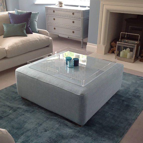 Beautifully Designed Acrylic Footstool Tray Or Ottoman Trays The