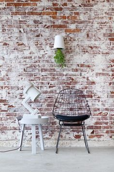 Behang oude stenen muur achterwand bed behang for Industriele muur