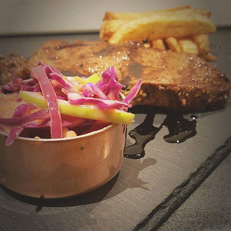 Steak, Chips and Apple Slaw