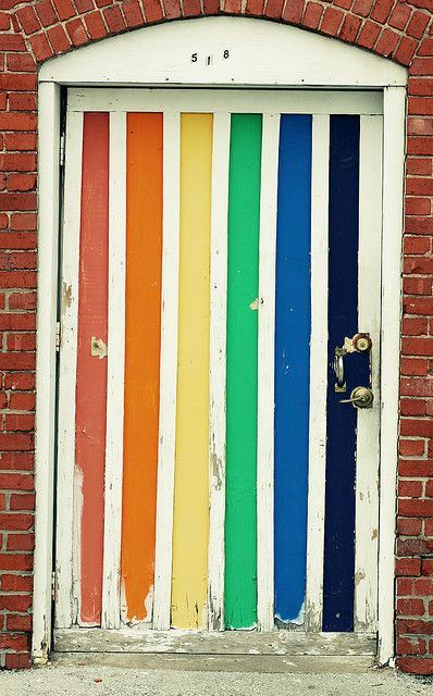 Found this on a Tumblr.  Can't give you any specifics but I would love to hear the stories this door could share.Primary Colors, The Doors, Rainbows Connection, Interiors Design, Front Doors, Exterior Doors, Colorful Doors, Colors Doors, Rainbows Doors