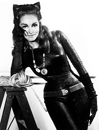 Julie Newmar  The original Catwoman, Julie Newmar played the role in 12 episodes of the live-action Batman television series of the 1960s. The classic Catwoman costume she wears was constructed by Newmar, using metallic Lurex yarn.