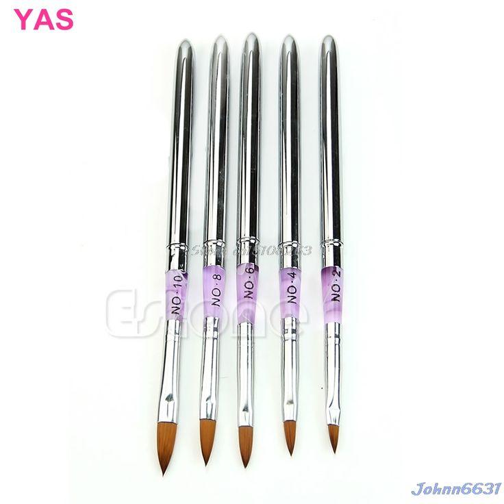 5Pcs Painting Nail Art Detachable UV Gel Builder Acrylic Nail Brush Pen Set New -Y207 Drop Shipping