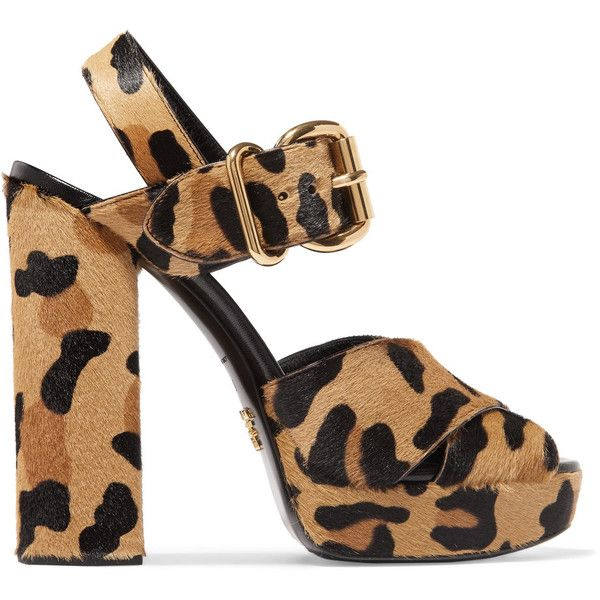 Prada Leopard-print calf hair platform sandals found on Polyvore featuring shoes, sandals, heels, leopard print, high heeled footwear, strappy heeled sandals, high heel platform sandals, platform sandals and block heel sandals