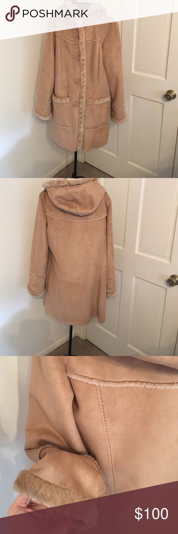Sued and fur faux winter jacket Beautiful never worn before fake for design and suede absolutely gorgeous shown in photos I can take more photos if needed St. John's Bay originally $389 size large St. John's Bay Jackets & Coats