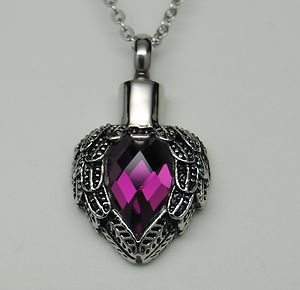 Purple wings heart cremation urn necklace angel wings for Father daughter cremation jewelry