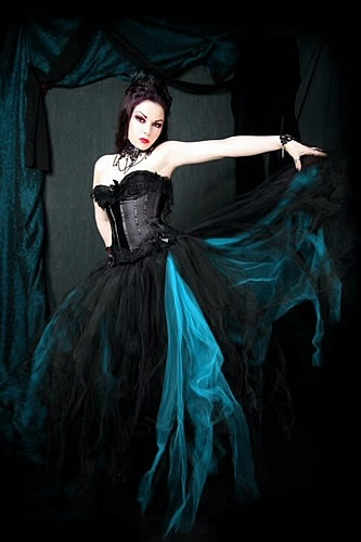 Teal and Black Formal Tulle Skirt $200