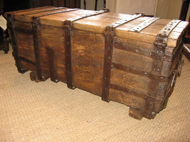 A Rare Meval Oak And Iron Bound Chest 14th 15th Century Ironwork Bau