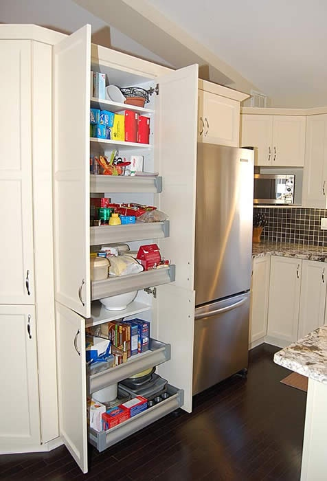 Pull out shelves in a pantry are a great idea!