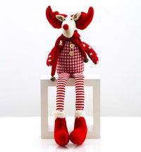 Christmas sitting gingham reindeer with scarf 40cm