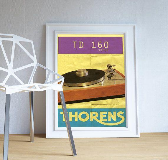 Thorens TD 160 Super Audiophile Turntable Original Illustration Vintage Ad Style Giclee Print on Paper Canvas Poster Wall Decor #audiophile #thorens #turntable #vintage #print #audiophileprint #td160Super #thorensturntable #audiophilegifts #thorenstd160super #vintagethorens