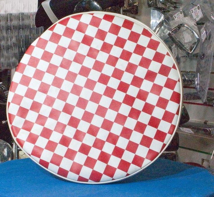 Spare wheel cover chequered 10  (red) for Vespa LML & Lambretta