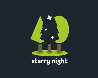 #NegativeSpace #LogoDesigns - Starry Night