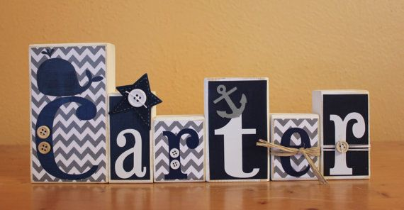 Nautical Nursery- Personalized Nautical Wood Blocks- Navy and Grey Nautical Nursery- Chevron Wood Letters- Pottery Barn Whale- Wood Blocks on Etsy, $5.50
