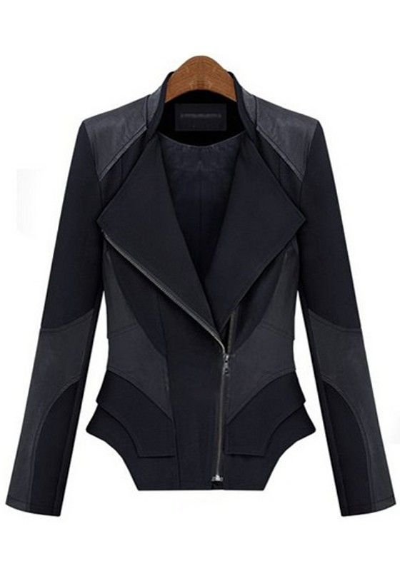 LOVE this Black Patchwork Zipper Long Sleeve Leather Coat #black #leather #fashion