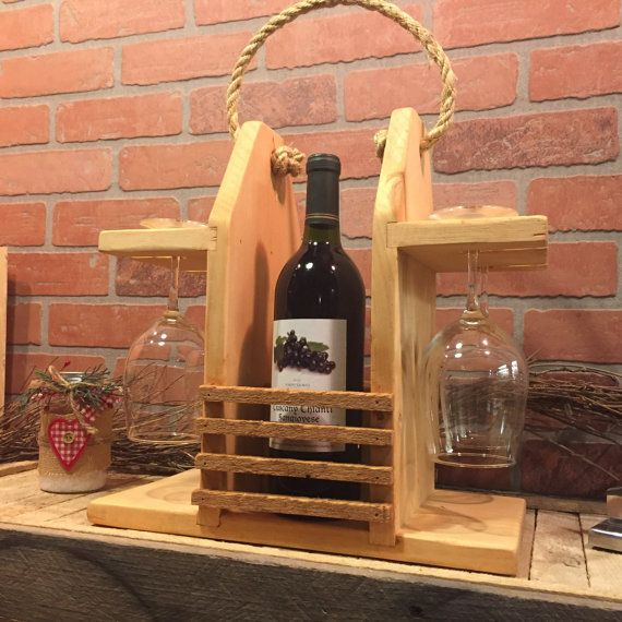 Rustic Wine Caddy Wine Carrier Wine Tote. Two Bottles