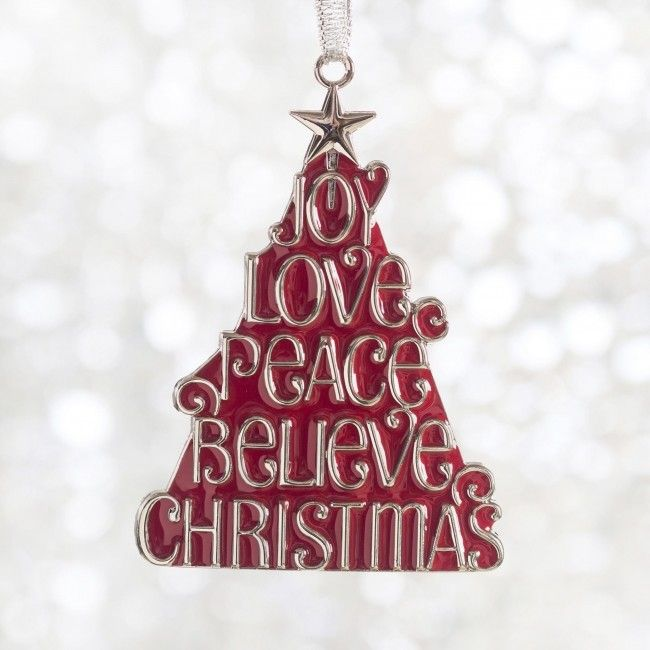 Spread the Joy, Peace & Love with this colourful Christmas tree ornament.