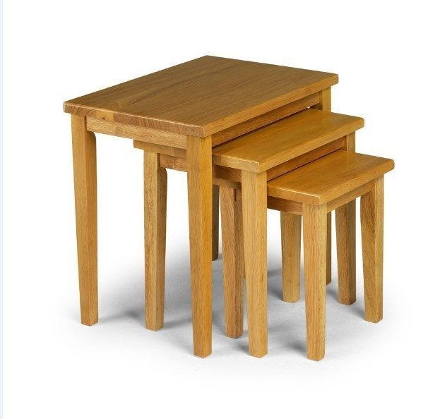 Small Wooden Coffee Table Nesting Nest Of Tables Set 3 Pieces Solid Any Room Oak