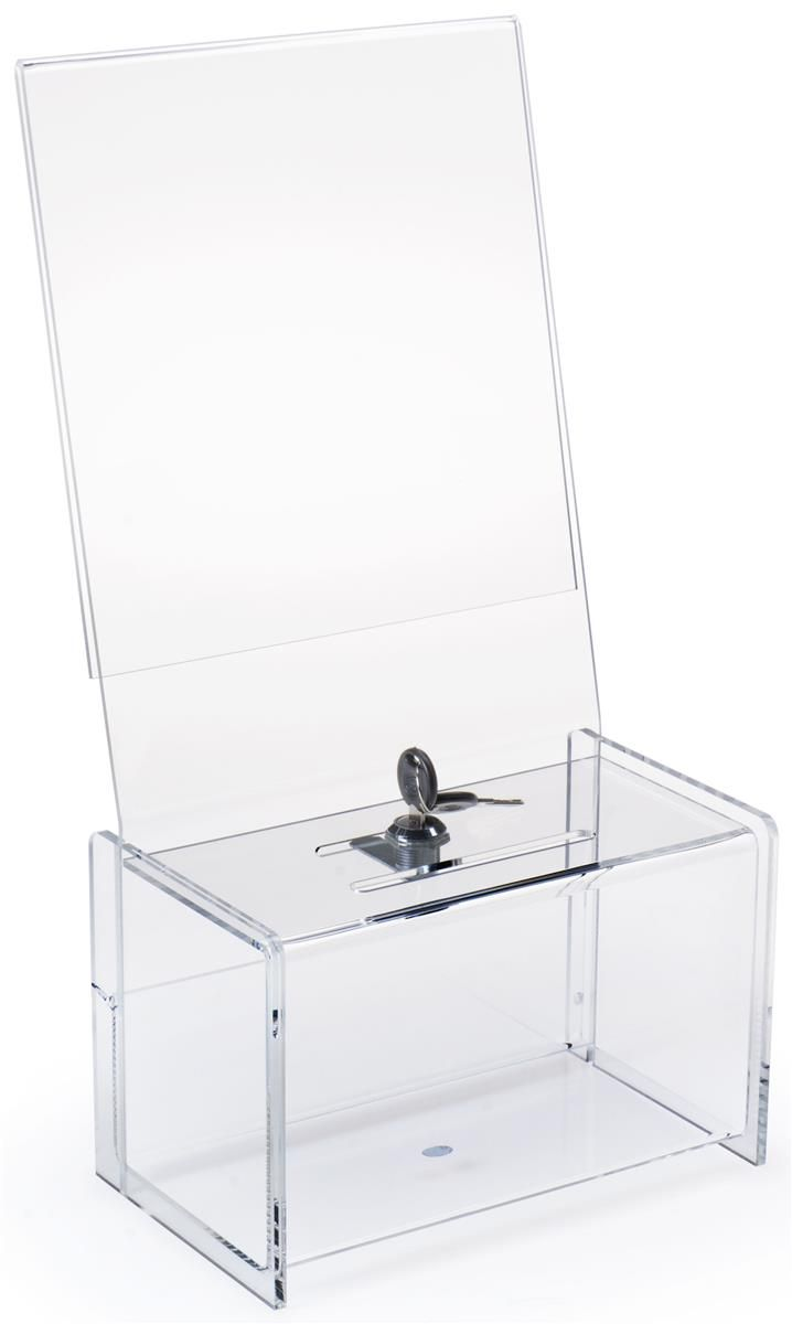 Acrylic Donation Box with 8.5 x 11 Header - Clear