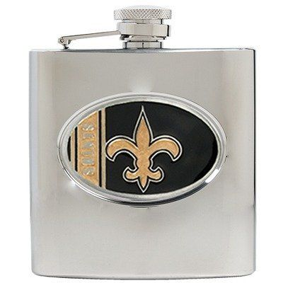 NFL 6 Oz Stainless Steel Hip Flask NFL Team: New Orleans Saints by Great American Products. $29.99. Brand New. HF2014-13 NFL Team: New Orleans Saints Features: -Hip flask.-Officially licensed.-Hand-crafted team logo.-Officially licensed by National Football League.-Capacity: 6 Ounce.-Made in USA. Construction: -Stainless steel construction. Dimensions: -Overall dimensions: 4.5'' H x 4'' W x 1.25'' D. Warranty: -Manufacturer provides 30 days warranty.