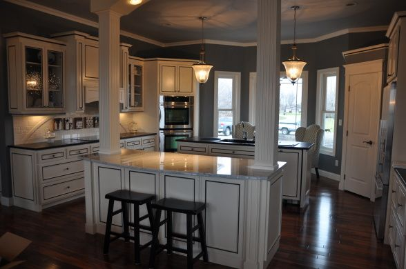 New black blue white kitchen this is the kitchen in our - Kitchen island with post ...