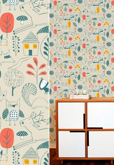 Nursery or playroom WALLPAPER - muffin & mani - lovely storybook stuff!