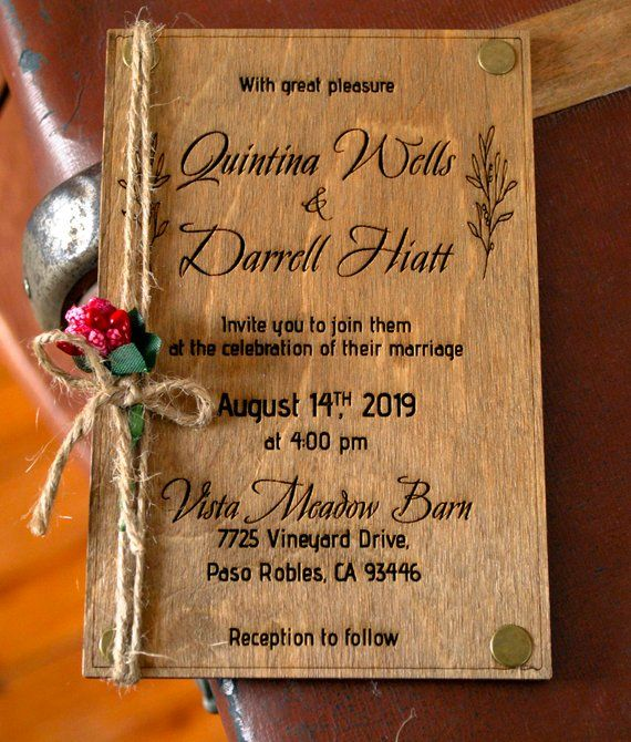 Real Wood Wedding Invitation 4x6 Laser Engraved 100 Etsy Wood Wedding Invitations Engraved Wedding Invitation Wooden Wedding Invitations