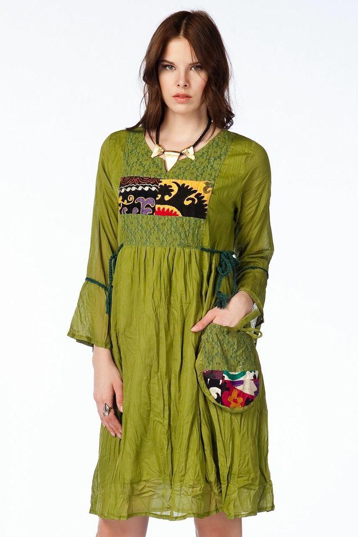 Otantik Köyceğiz Elbise - Yeşil