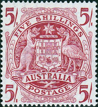Australia 1948 SG 224a 5 - Coat Of Arms Fine Mint SG 224a Scott 218 Other Australian Stamps here