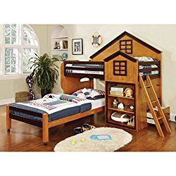 citadel house design oak walnut finish dual twin size loft bed set - Hausgemachte Etagenbetten Mit Rutsche