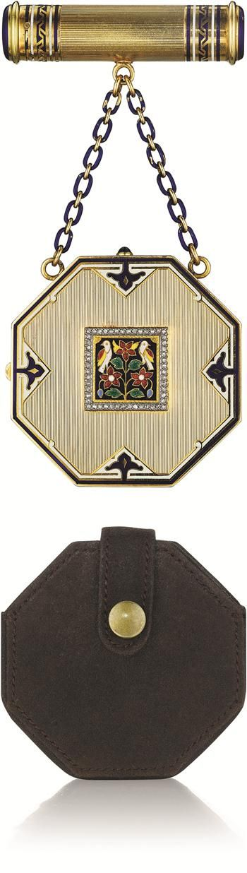 Cartier Art Deco Enamel and Diamond Vanity Case - 1925 - @~ Watsonette