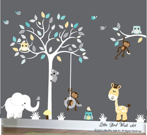 White tree childrens decal with yellow and turquoise colors giraffe elephant monkeys koala owls birds