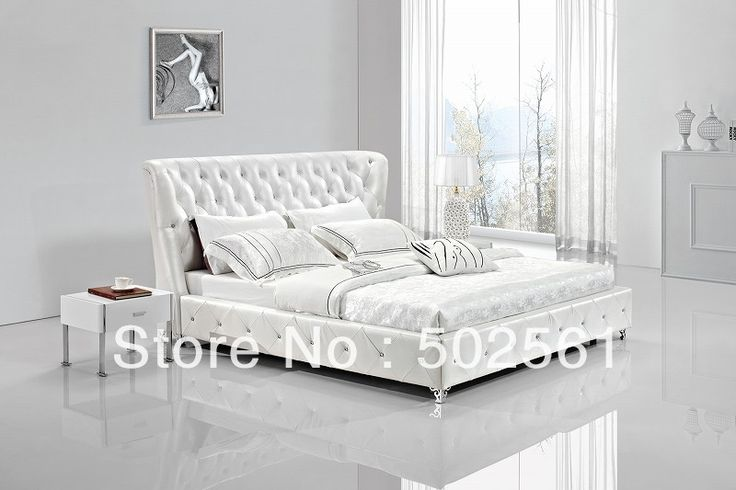 contemporary King size Queen white modern genuine leather softbed diamond crystal bedroom furniture China