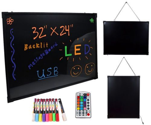 Package includes: 1x LED Writing Board ; 9 x CKS Fluorescent Pens; 1 x Remote Control ;1 x Microfiber Cloth ; 1 x Hanging chain ; 1 x Power adapter (Input 100V-240V Output 12V~1.5A) ; 1 x USB Controller.