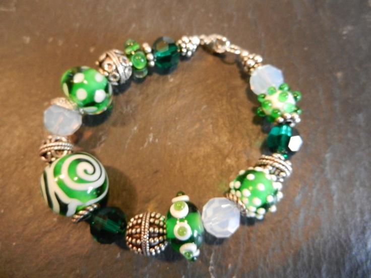 St. Patty's bracelet #3 with Cheryl Sweeney's handmade lampwork beads: Beads Bracelets, Lampwork Beads, Beads Bijoux Beaded Cab, Beads Bijoux Beads Cab