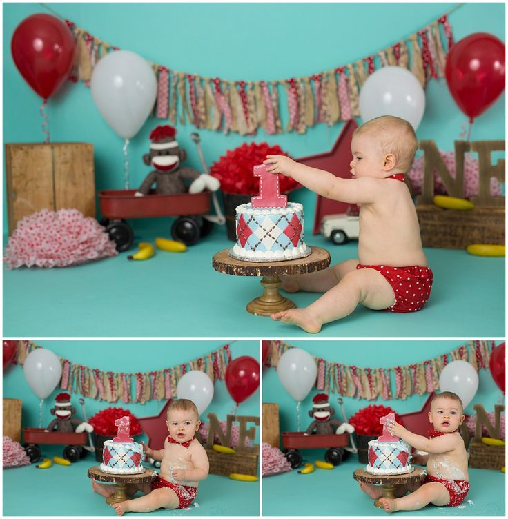 Sock Monkey Cake Smash  with Michelle Voigt Photography www.mvoigtphotography.com mvoigtphotography@gmail.com  #mvoigtphoto College Station Photographer