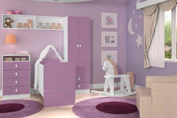 20 ideias de quarto para bebê lilás!  Bebês  Pinterest  Quartos