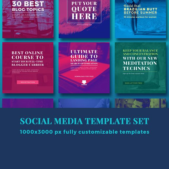 Social media template for bloggers  2017 design trends