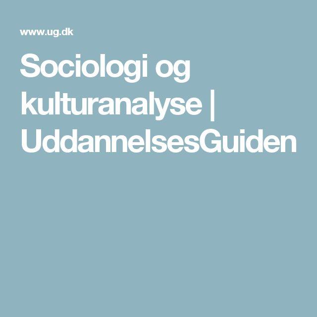 Sociologi og kulturanalyse | UddannelsesGuiden