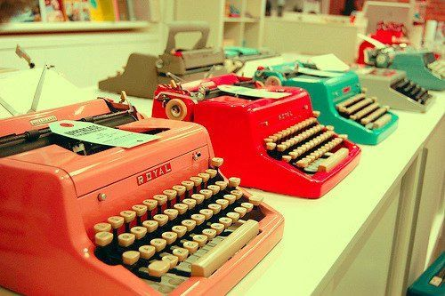 these were like the first typewriters i learned to type on, tho i don't recall them being such lovely colors...   :)