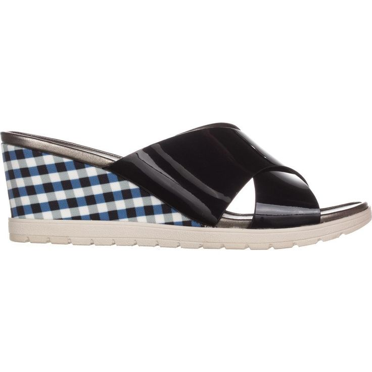 Easy Spirit Hartlyn Comfort Wedge Sandals, Navy Patent    #sandals #wedges #platforms #comfort #comfortsandals #spring #springstyle #springfashion #shoes #shopping #style #trend #fashion #womensfashion #love