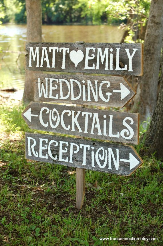 Wedding Signs AND Stake Reclaimed Wood Signs by TRUECONNECTION, $120.00