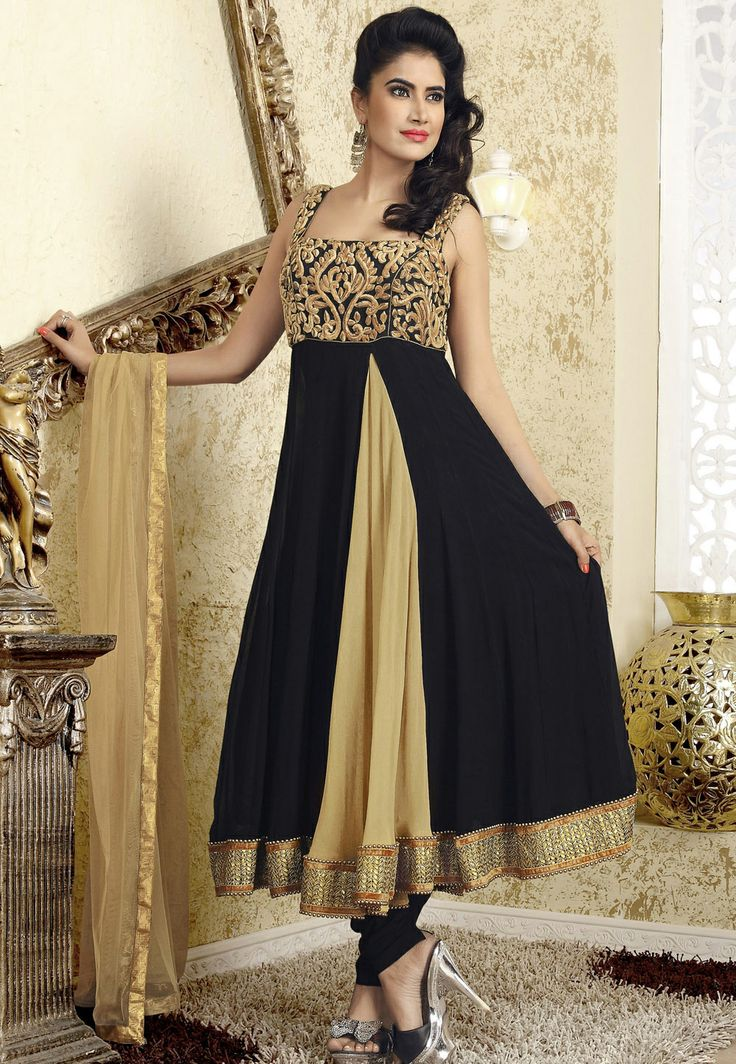 Black and Fawn Faux Georgette Anarkali Churidar Kameez