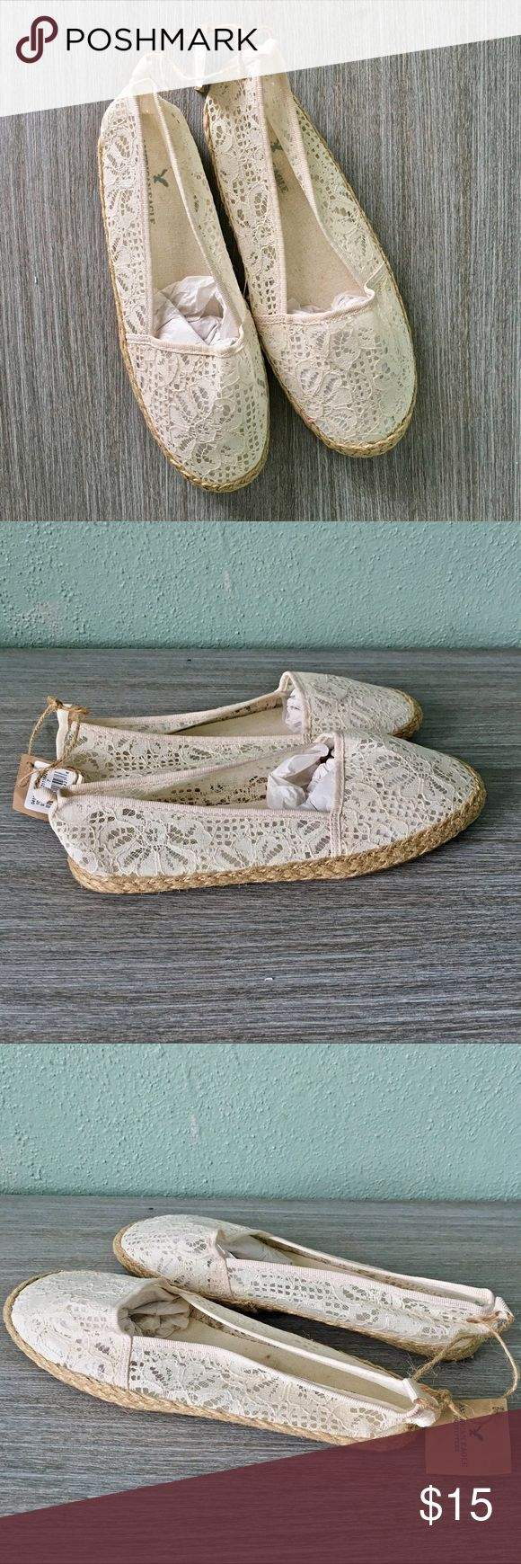 NWT American Eagle White Lace Espadrilles Brand new never worn. American Eagle white lace espadrilles. A perfect summer basic! True to size. American Eagle Outfitters Shoes Espadrilles