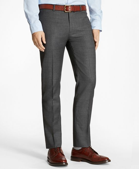 "<a href-""#pdplearnmore"" class=""lm"">The Red Fleece Collection</a><br>Cut in our slimmest fit, these sharp trousers are crafted from Italian-milled sharkskin wool woven to emphasize the fiber's natural stretch. This flat-front pair is styled with a lower rise, a narrow leg, on-seam side pockets, button-welt back pockets and finished hems. Suit jacket and trousers sold separately.<br><br>Dry-clean; made of Italian fabric; imported."