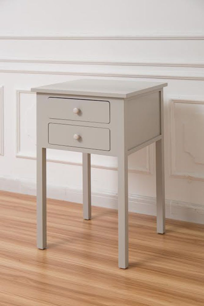 Grey Bedside Tables: Grey Wooden Two Drawers Bedside Table Unit Bedroom