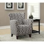 Europa Brown and White Fabric Club Arm Chair, Brown Bell Pattern