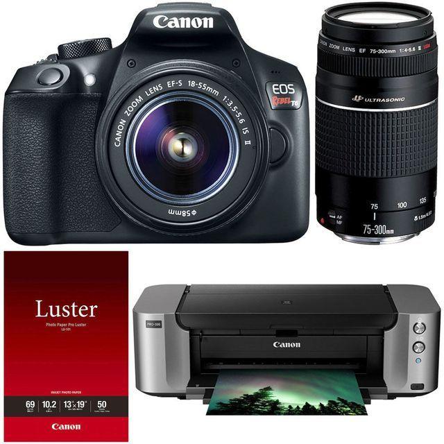 Canon T6 DSLR Camera 18-55 & 75-300mm Lens Printer Bundle $349.99 AR (ebay.com)