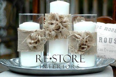 Burlap Rosettes... Would be cute on a burlap wreath!