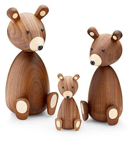 Gift for the design loving mum or dad. One Walnut bear each for the members of your family.